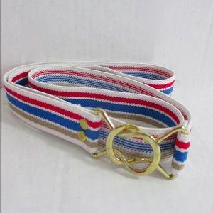 Elastic Stretch Belt Sz 40 Striped Interlocking